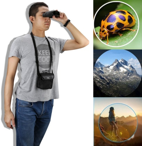 man using compact binocular