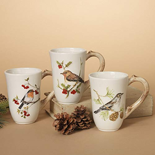 Woodland Birds Ceramic Coffee Mugs (Set of 3)