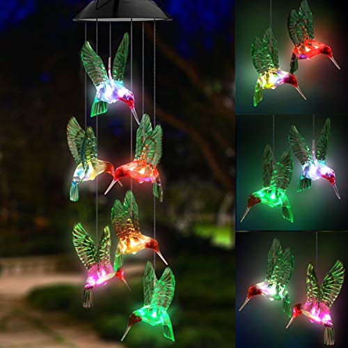 Topspeeder LED Solar Hummingbird Wind Chime, Changing Color Waterproof Six Hummingbird Wind Chimes