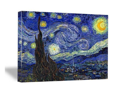 Wieco Art Classic Abstract Giclee Canvas Prints Wall Art for Living Room Home Office Decor Large Starry Night by Van Gogh Famous Oil Paintings Modern Stretched and Framed Landscape Pictures Artwork