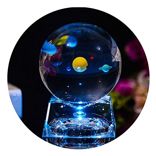 3D Crystal Ball with Solar System model and LED lamp Base, Clear 80mm (3.15 inch) Solar System Crystal Ball