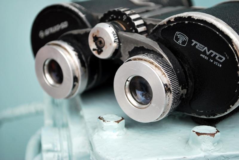 Binoculars on steady surface