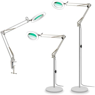 TOMSOO 12301 3-in-1 Magnifying Glass Floor Lamp