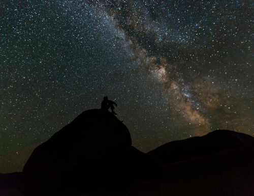 silhouette stargazing