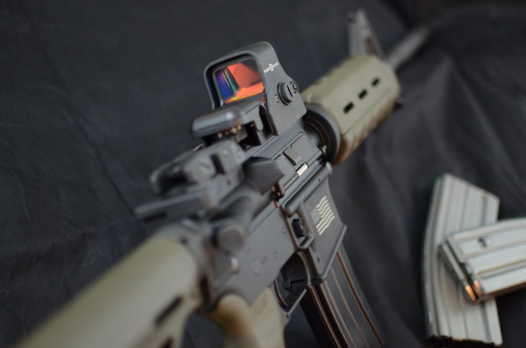 rifle with holosight
