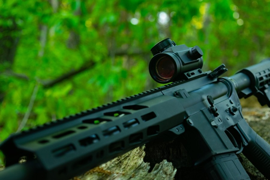 AR-15 with red dot sight