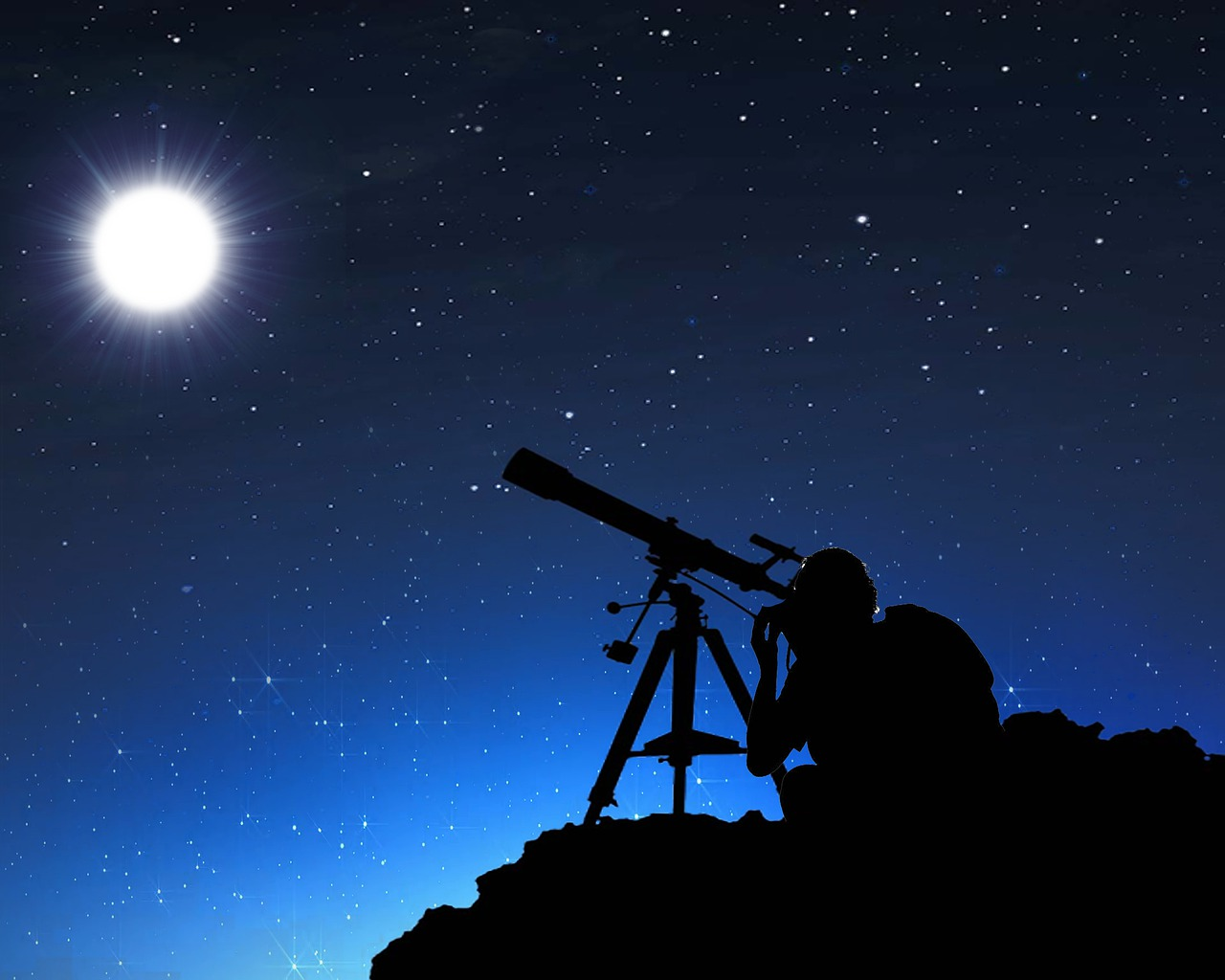 person using telescope in the night sky