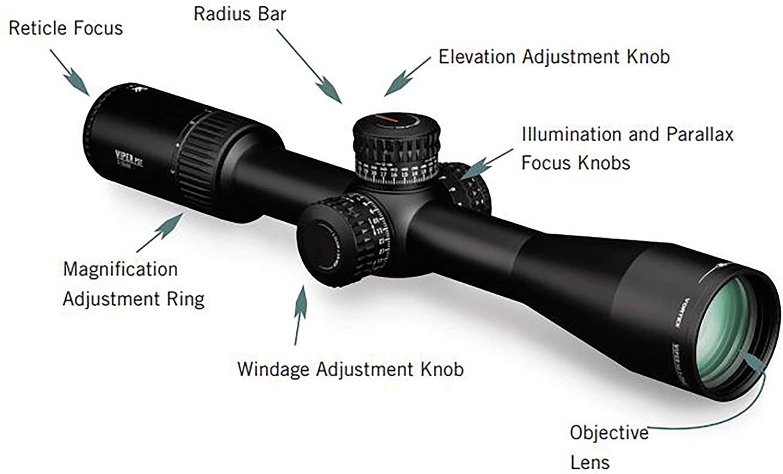 Parts of the Vortex Optics Viper PST Gen II First Focal Plane Riflescopes