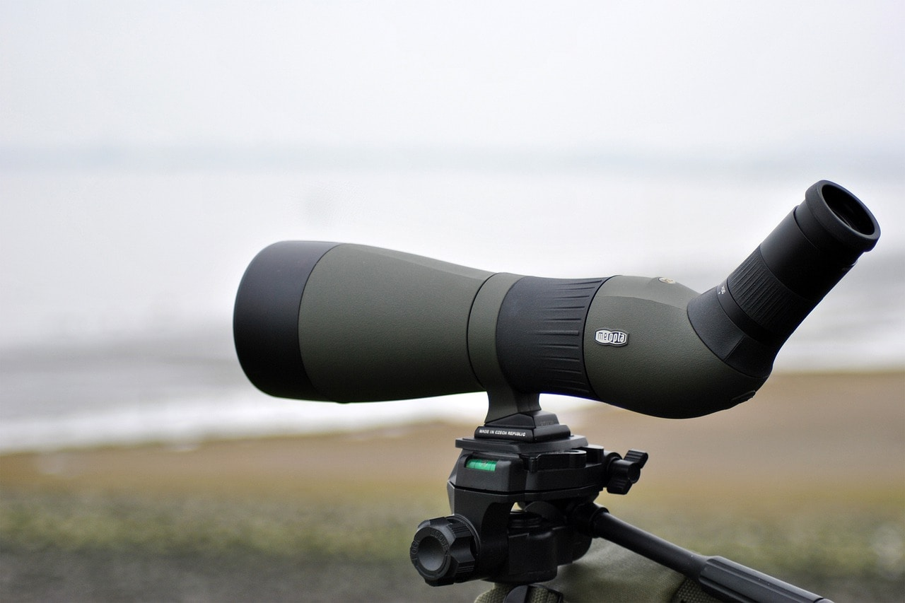 an angled spotting scope
