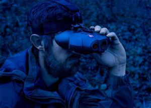 man using Night Fox Swift Night Vision Goggles
