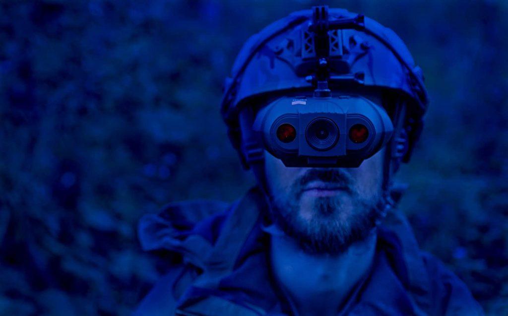 man wearing Night Fox Swift Night Vision Goggles