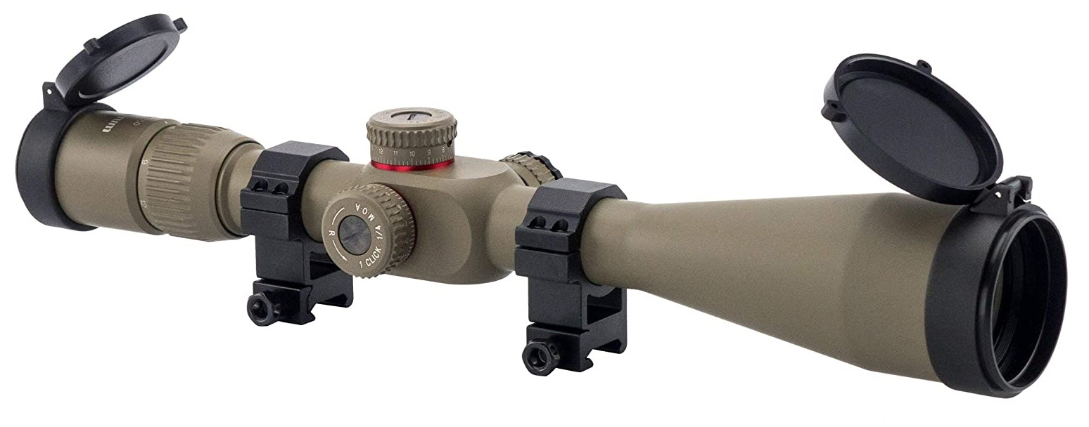 Monstrum G2 6-24x50 First Focal Plane FFP Rifle Scope with Illuminated Rangefinder Reticle and Parallax Adjustment - Flat Dark Earth