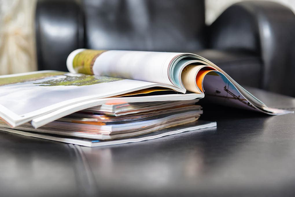bird magazines in the table