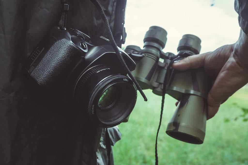 camera and binoculars