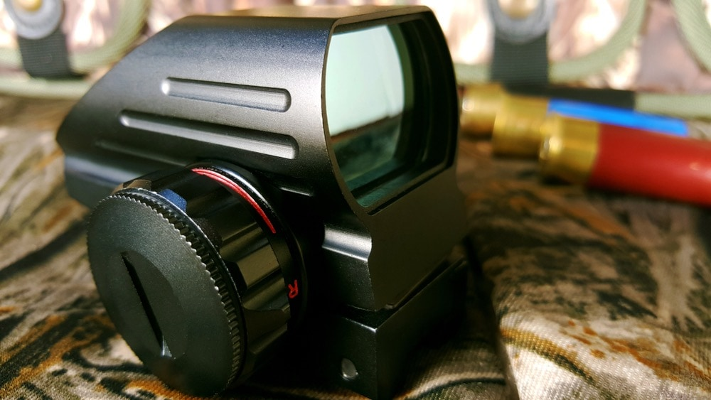 red dot sight and ammunition