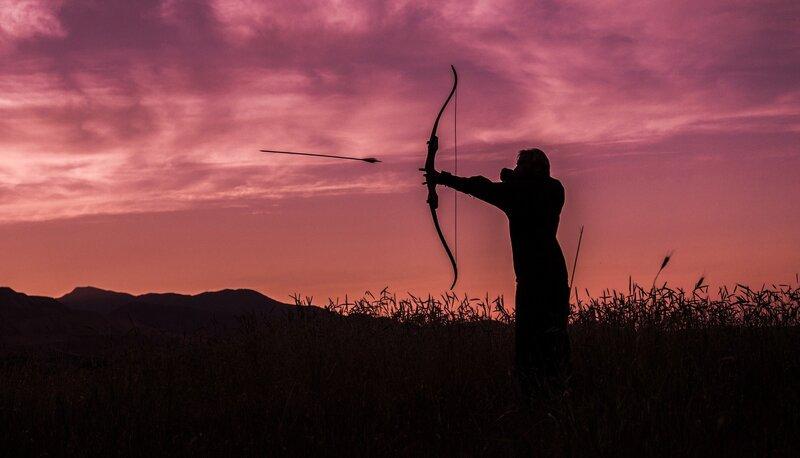 recurve bow shot arrow night dusk