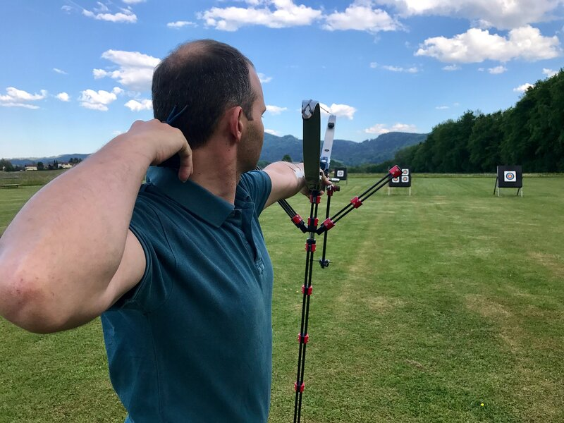 recurve bow shot target outdoor range with sight